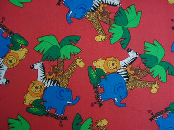 Tissu Patchwork : animaux de la jungle rouge -