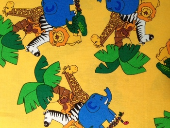 Tissu Patchwork : animaux de la jungle jaune -