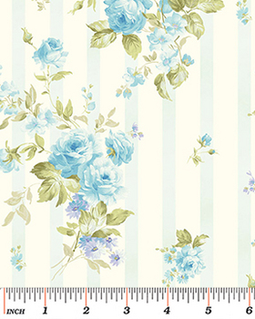 Tissu Patchwork : petit bouquet floral bleu de Eleanor Burns -