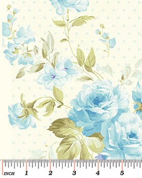 Tissu Patchwork : grand bouquet floral bleu de Eleanor Burns -