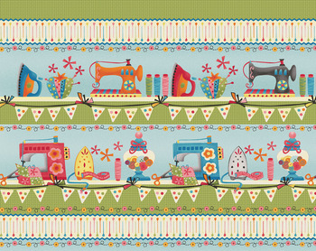 Tissu Patchwork : Bande theme couture -