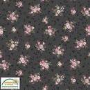 Consulter la fiche tissu patchwork : rose taille moyenne fons noir anthracite