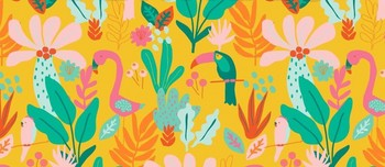 Tissu Patchwork : TROPICAL flamand rose et toucan fond jaune -