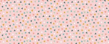 Tissu Patchwork : petit triangle multicolore fond rose -
