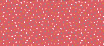 Tissu Patchwork : petit triangle multicolore fond rouge -