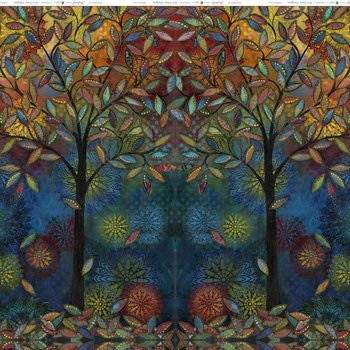 Tissu Patchwork : GRAND ARBRE MULTICOLORE -