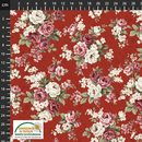 Consulter la fiche tissu patchwork : Roses anciennes fond rouges